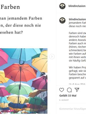 Screenshot unseres Instagram Beitrages zum Thema Farben und Bildheit.